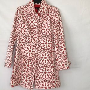 INC floral embroidered trench coat Sz 10